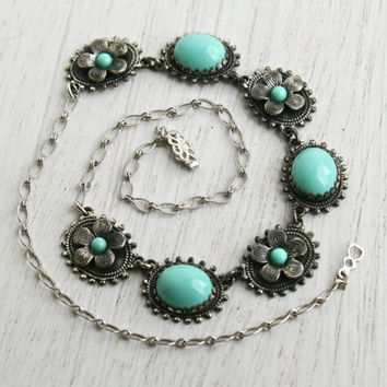 Vintage Faux Turquoise Necklace - Silver Tone 1940s Flower Costume Jewelry / Teal Collar