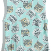 ROMWE | Cats Print Green Vest, The Latest Street Fashion