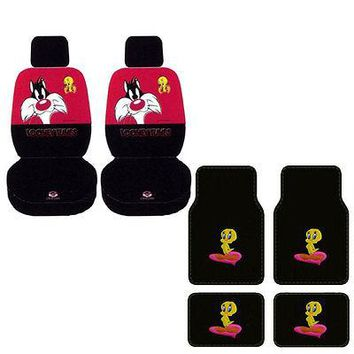 Licensed Official New Looney Tunes Sylvester Tweety Bird Car Truck Seat Covers Floor Mats Set