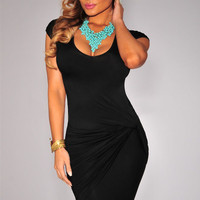 Black Short Sleeve Ruched Midi Bodycon Dress
