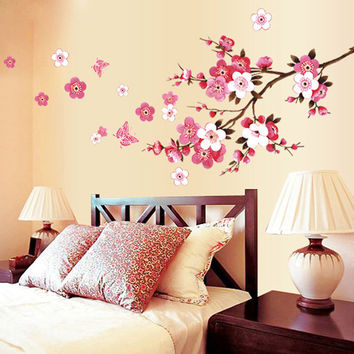 Cherry Blossom Wall Poster Waterproof Background Wall Sticker for Living room Bedroom Cafe Home Decor Free Shipping