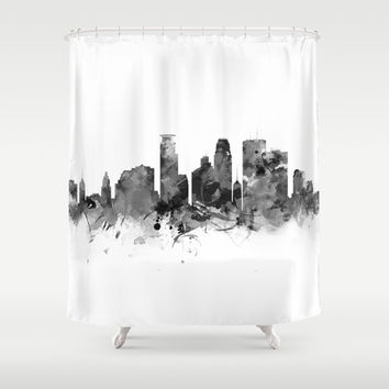 Minneapolis Skyline Shower Curtain by monnprint