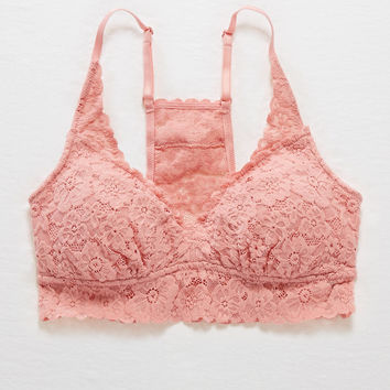 Aerie Padded Lace Racerback Bralette , Rose