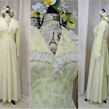 16dd46889cd4 Vintage 60s maxi dress / size XS / S / 4 / 6 / boho yellow flow