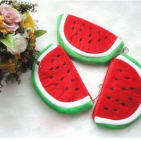 AT 2015 New Cute Plush Red Watermelon Coin Purse Wallet Pouch Bag ABD157