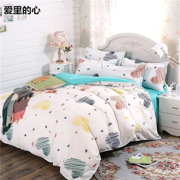 Cool White blue Bedding Sets Lovely Bed Sheet High quality King Queen single Size beautiful Duvet Cover Set pillowcase Heart Bed SetAT_93_12