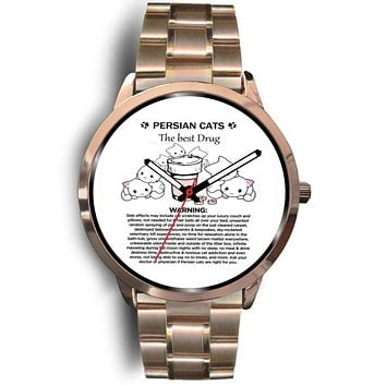 Custom Designed Rose Gold Watch - Persian Cats The Best Drug Funny Therapy Wrist Watch For Cat Moms Who Love Persians + Surprise Gift