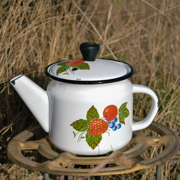 Antique Enamel Teapot / Berry Bunch Vintage Rustic White Kettle / Cute Russian Botanical Pitcher / Strawberry Cherry Coffee Pot