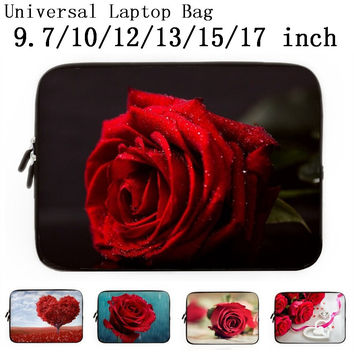 "Rose Love 9.7 10 12 13 15 17"" Laptop Notebook Neoprene Protector Case Cover For 15.4"" Macbook Air/Pro 15.6"" HP Pavilion Dv6 G6"