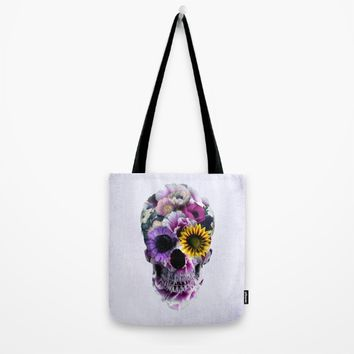 Floral Skull Tote Bag by RIZA PEKER