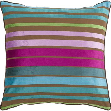 Velvet Stripe Throw Pillow Blue, Pink