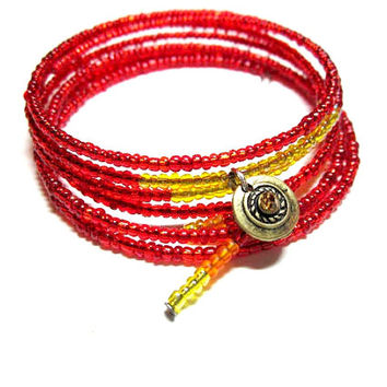 Bracelet ~The Flame ~   Red Yellow and Orange Glass Seed Beads on Silver Plated Memory Wire With Charm