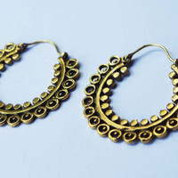 Golden Brass Hoops, Indian Earrings, Tribal Earrings, Gypsy Earrings, Bohemian Earrings, Hippie Earrings, Ethnic Earrings