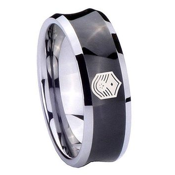8MM Black Concave Chief Master Sergeant Vector Two Tone Tungsten Carbide Laser Engraved Ring