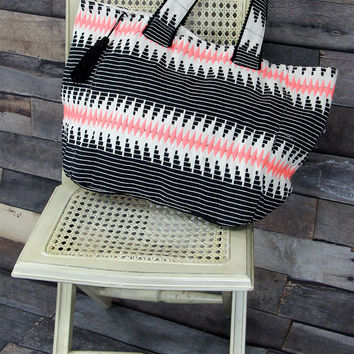 Quilted Tote Bag in Pink and Black