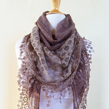 """Scarf """"Meridian"""" in BARLEY/MOCHA/Taupe/Warm Brown with rich lace edge - scarflette cowl neckwarmer - Autumn/Winter"""