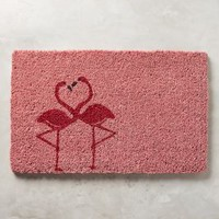 Flamingo Love Doormat by Anthropologie in Pink Size: One Size Rugs