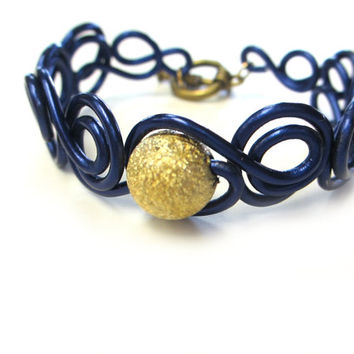 Nautical Bracelet Deep Blue Wire Jewelry Gold Center Bead
