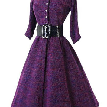 Purple Long Sleeve Turn-Down Collar A-Line Dress