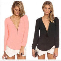 2015 6 Color Solid Autumn V Neck Long Sleeve Zipper Sexy Chiffon Blouses Women work wear Blusas Femininas Tops