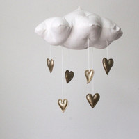 Gold Heart Cloud Mobile- modern fabric sculpture for baby nursery decor in white linen and metallic faux gold leather
