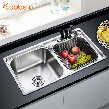 304 Stainless Steel Above Counter Kitchen Sinks Single & Double Bowl Drawing Drainer Brushed  Welding Sink For Kitchen Cobbe