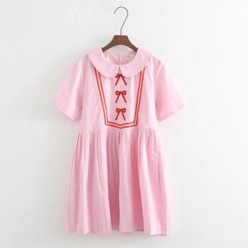 women summer Japanese College winds cute girl bow tie embroidery loose pleated short sleeved Doll collar dres