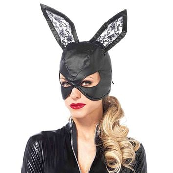Lace Back Faux Leather Bunny Mask