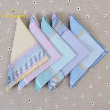 10Pcs 29cm*29cm Vintage thin Classic Plaid Stripe Women's Pocket Square Jacquard Hankies Cotton Ladies Embroidered Handkerchiefs
