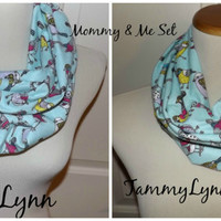Mommy & Me Winter Blue Multi Color Song Birds Cotton Flannel  Floral Infinity Scarf Lightweight Double Loop Scarf Women's Accessories