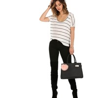 White Basic Stripe Out Top