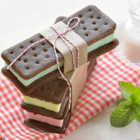 Ice cream sandwich soap, handmade cute summer gelato novelty gift