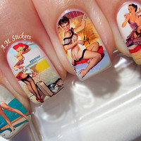 Vintage Pin Up Girls Nail Decals