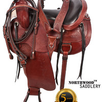 Premium Handtooled Leather Trail Endurance Saddle 15 18- Western Horse Saddles - Saddle Online