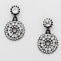French Pave Rhinestone Double Drop Earrings WHITE