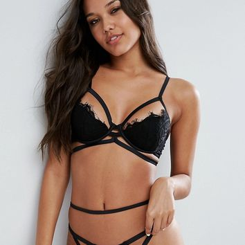 ASOS Clemence Eyelash Lace Strappy Padded Bra at asos.com