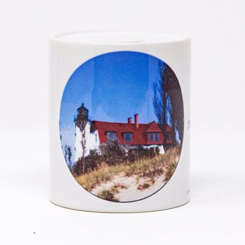 Point Betsie Michigan Lighthouse Coin Bank, Ceramic, Hand Imprinted Photograph