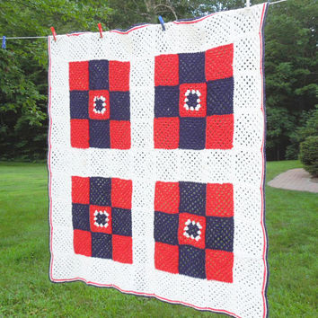 "Red white blue crochet afghan throw blanket 53"" x 51"""