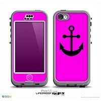 The Hot Pink & Solid Black Anchor Silhouette Skin for the iPhone 5c nüüd LifeProof Case