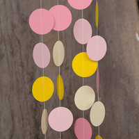 Paper garland bunting, wedding garland decor, circle garland, easter party decor, nursery banner, nursery garland, photo backdrops sorbet
