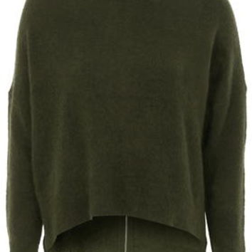 Stretchy Zip Back Roll Neck Sweater - Khaki