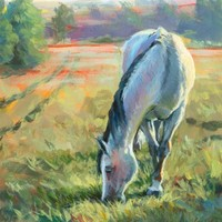 Original painting of a horse grazing in a landscape