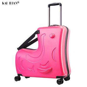 Children Rolling Luggage Spinner Wheels Suitcase Carry On Trunk, Can sit to ride