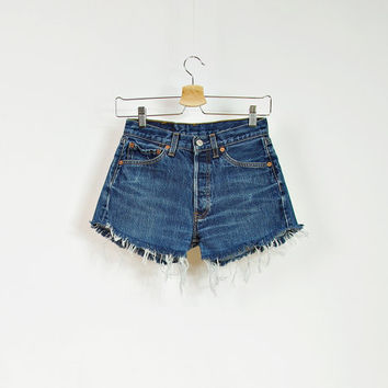 Vintage LEVIS 501 Cut Off Dark Blue Denim Shorts / High Waisted Cutoffs / Button fly / W28