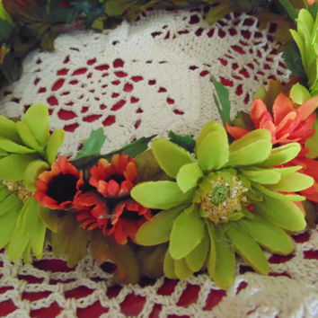 Autumn Daisy Flower Crown Lime and Orange Wreath Tiara