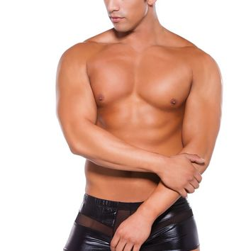 Men's Wet Look Peek a Boo Shorts