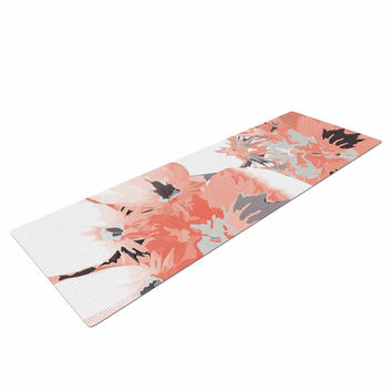 "Love Midge ""Graphic Flower Nasturtium Coral"" Pink Floral Yoga Mat"