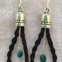 Maggie ~ Loop Earrings with Turquoise Beads & Silver Chain