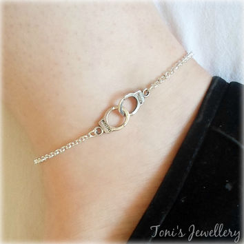Handcuff 'Freedom' Anklet - Silver Plated, Extendible