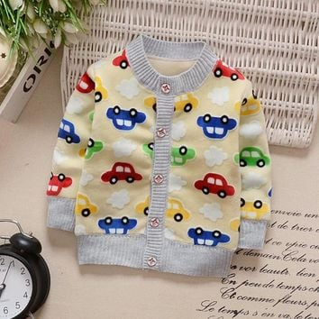 2017 Baby Children Clothing Boys Girls Knitted Cardigan Sweater Kids Spring Autumn Cotton Outer Wear Warm Plus Velvet Cartoon